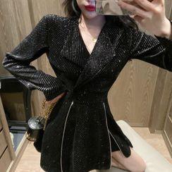80PERCENT - Set: Glitter Mini A-Line Coat Dress + Shorts
