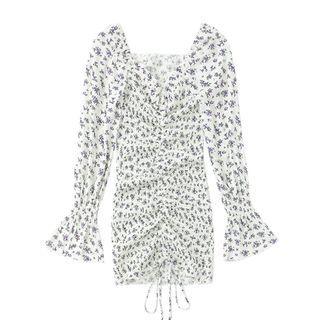 JIN STUDIOS - Long-Sleeve Floral Print Dress