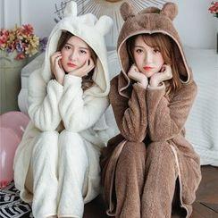 Ciambella - Pajama Set: Bear Ear Hooded Robe + Pants