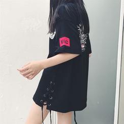 Princessy - Lace-Up Printed Long T-Shirt