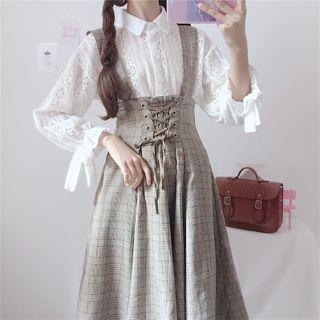 AKANYA - Long-Sleeve Lace Shirt / Plaid Midi A-Line Suspender Skirt