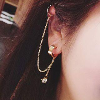 Ticoo - Rhinestone Ear Chain + Single Earring
