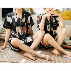 Voomer - Couple Matching Pajama Set: Dog Print Top + Shorts