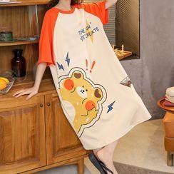 Lion Sniff - 短袖小熊印花家居服连衣裙