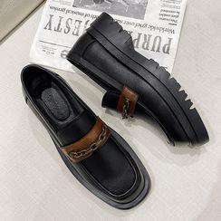 VEAZ - Chain Strap Platform Block-Heel Loafers