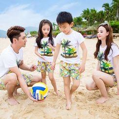Hinode - 亲子装套装: 棕榈树印花短袖T恤 + 短裤