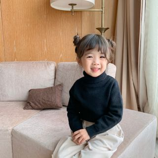 Blue Papa - Kids Plain Turtleneck Sweater