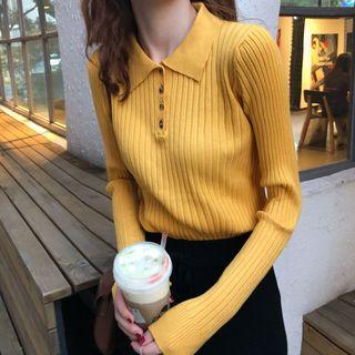OGAWA - 长袖纯色针织马球衫