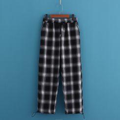 Kawaii Fairyland - Drawstring Gingham Straight-Leg Pants (Various Design)