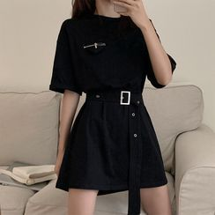 Amardeep - Belted Elbow-Sleeve Mini T-Shirt Dress