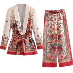Indesi - Floral Print Tie-Waist Blazer / Wide-Leg Pants / Set