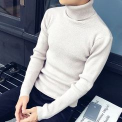 Bay Go Mall - Turtleneck Ribbed Knit Top