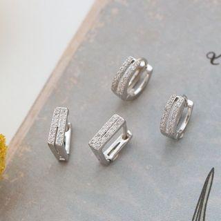 Zatanna - Rhinestone Geometric Hoop Earring
