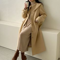 PPGIRL - Wide-Collar Single-Breasted Long Coat