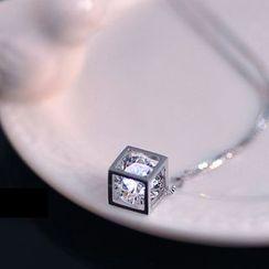 Jiniro - 925 Sterling Silver Caged Rhinestone Pendant Necklace