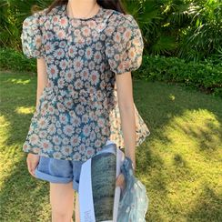 RENA - Set: Puff-Sleeve Floral Print Sheer Top + Camisole Top