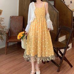 AKANYA - Sheer Shirt / Spaghetti Strap Mesh Overlay Dress
