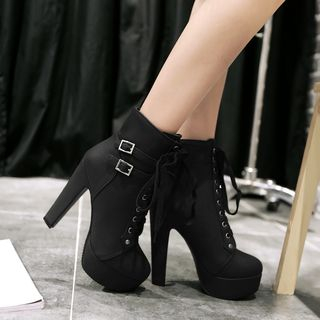 Blingon - Lace Up High Heel Boots