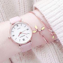 Moska - 套裝: 仿皮帶帶式手錶 + 開口手鐲
