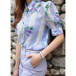 Styleonme - Lace-Frilled Floral Chiffon Blouse