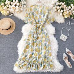 Lucuna - 短袖菠蘿印花沙灘連衣中裙