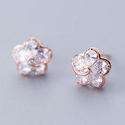A'ROCH(エーロック) - 925 Sterling Silver Rhinestone Flower Earring