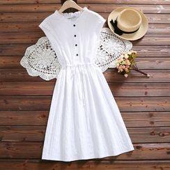 Fancy Show - Sleeveless Drawstring-Waist Dress