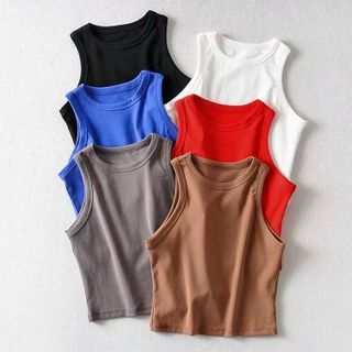 Hollahop(ホーラホップ) - Plain Cropped Tank Top