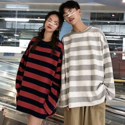 Bay Go Mall - Couple Matching Long-Sleeve Striped T-Shirt