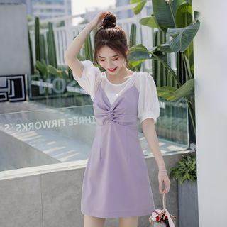 Petit Lace - Mock Two-Piece Color-Block Dress