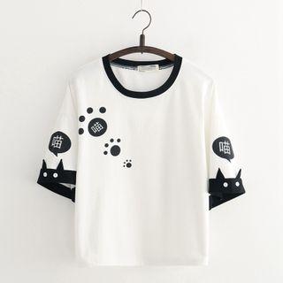 Cat Planet - Cat Print Elbow-Sleeve T-Shirt