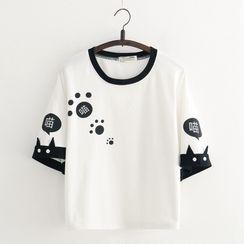 Cat Planet - 猫印花中袖T裇