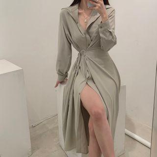Leoom - 泡泡袖飾扣A字連衣中裙