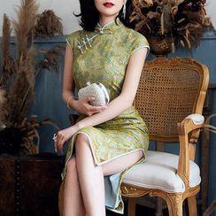 欧依潮派 - 蕾丝盖袖旗袍