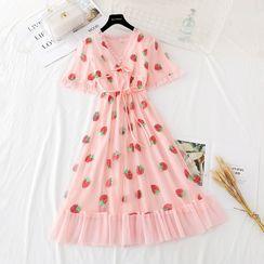 NINETTE - 短袖草莓亮片网纱连衣裙
