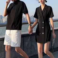 Tabula Rasa - Couple Matching Short-Sleeve Polo Shirt / Dress / Shorts