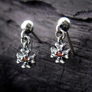 Sterlingworth - Engraved Sterling Silver Cross Earring - Garnet (Single)