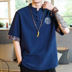 Sindel - Short-Sleeve Embroidered Linen Top