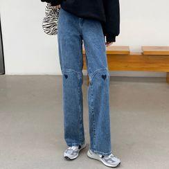 Costana - 心心印花直筒牛仔裤