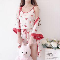 AKANYA - Pajama Set: Printed Camisole + Shorts + Robe