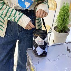 TangTangBags - Applique Plaid Canvas Bottle Tote Bag (Various Designs)