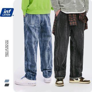 Newin - 洗水宽松直筒牛仔裤