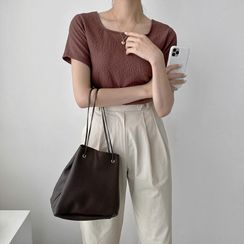 UPTOWNHOLIC - Square-Neck Textured Top