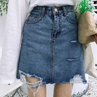 Dute - Distressed Denim Mini Skirt