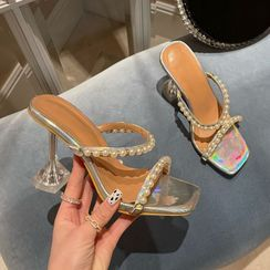 Niuna - 仿珍珠喇叭鞋跟凉鞋
