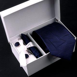 Prodigy - 禮盒套裝: 免打結領帶 + 袖扣 + 口袋方巾 + 領帶夾