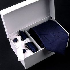 Prodigy - Gift Set: Pre-Tied Necktie + Cuff Links + Pocket Square + Tie Clip