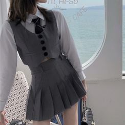 Avox - 长袖衬衫 / 短款扣钮马甲 / 饰褶迷你A字裙