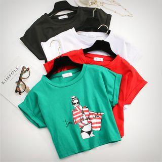 KANAMI - Short-Sleeve Print Cropped T-Shirt