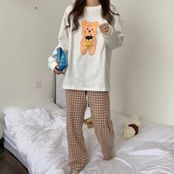 Panorama - Pajama Set: Bear Print Long-Sleeve T-Shirt + Plaid Lounge Pants